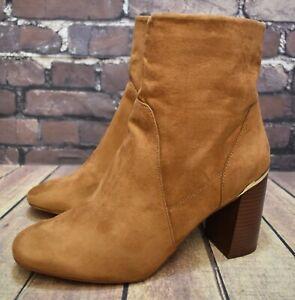 Womens Dorothy Perkins Tan Zip Up High Heel Ankle Boots UK 9 EUR 43 RRP - £40