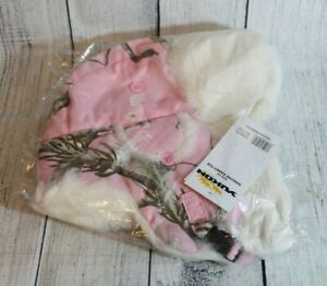 Pink Realtree Bomber Hat Size L/XL Yukon Tracks Genuine White Rabbit Fur Lined