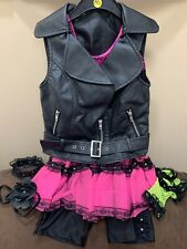 JUST A GIRL PUNK NEON COSTUME M (10/12) PLEATHER MOTO VEST & ACCESSORIES WOW!!