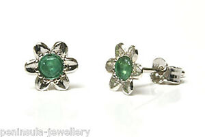 9ct White Gold Emerald Studs Flower Earrings Gift Boxed Made in UK Birthday gift