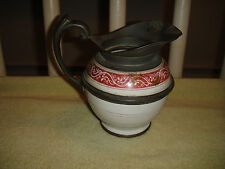 Antique Creamer Pitcher-Pewter & Ceramic-Russian Or Chinese?-Red Pattern-RARE