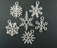 50pcs Tibetan Silver Mixed Snowflake Charms 19.5-24mm E17