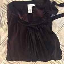 2B Rych Women Silk Tunic Blouse, Unique Design, Dark Brown Long Sleeves, Size 0