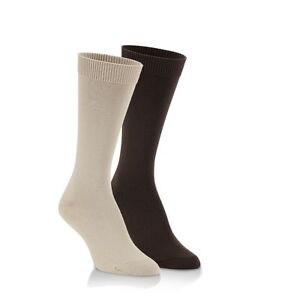 World's Softest Socks Trouser Socks - 2 pair pack Chocolate & Stone Size Large