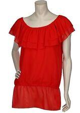 NWT MARC BOUWER Scoop Neck RED Shirt Ruffle Detail Tunic Blouse Plus Sz 3X