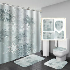Snowflake Pattern Shower Curtain Bath Mat Toilet Cover Rug Home Bathroom Decor