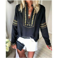 Women National Style Print Loose Tops Blouse Boho Long Sleeve T-shirts Plus Size