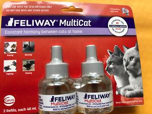 2 Pack Feliway Multicat 30 Day Refill Diffuser 48ml (Total 144ml) Exp 2/24
