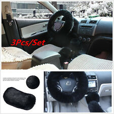 3X Soft Car Steering Wheel Cover Furry Woolen Fur Gear Knob Shift Parking Brake