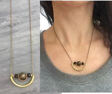 Natural Labradorite & Black bead Brass Curved Arc Tube Antique Bronze Necklace