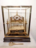 Five Finial Congreve Rolling Ball Clock With Dome and Base--Solid Brass