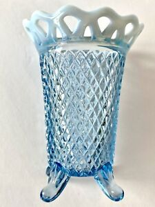 Imperial  amberina lace edge basket weave 4 footed vase