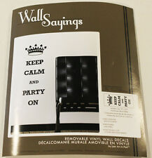 WALL SAYINGS REMOVABLE VINYL WALL DECALS KEEP CALM AND PARTY ON