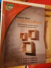 3 Pack Natural Wood Wall Cubes With Wall Fixtures (all three different sizes)