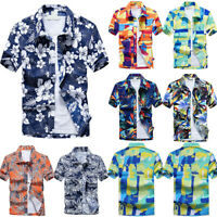 Men Floral Short Sleeve Blouse Shirts Summer Beach Holiday Casual T Shirt Tops