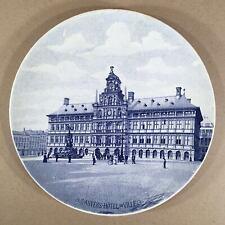 Antique BOCH FRERES Belgium Transferware Souvenir Plate HOTEL DE VILLE ANVERS