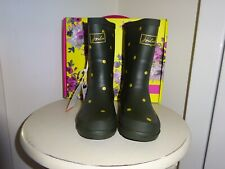JOULES GREEN GOLD SPOT  WELLIES. BOOTS. SIZE 12 NEW IN  BOX