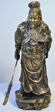12 in. Chinese Vintage Old General Guan Gong Yu Bronze Statue Sculpture w Knife