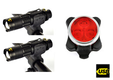 two front Q5 & rear 3 led USB rechargeable bike lights set kit alloy zoom lamps