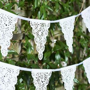 Botanical Bride White Paper Lace Style Garland Wedding Bunting 4m
