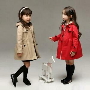Red Girls Long Sleeve Casual Dress Jacket Hooded Trench Coat Outerwear Age 2-11