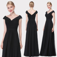 Ever-Pretty Long Beaded Formal Bridesmaid Dresses Black Prom Evening Gowns 08633