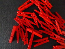 20 Red Mini Wooden Craft Pegs / Photo Clips, Weddings Etc 30mm By 3mm