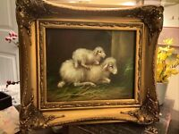 "Sheep & Lamb~Oil Painting~8""x 10""~Ornate Frame~Signed~French Country~FREE SHIP~"