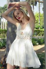 193710 New Free People FP One ILEKTRA Inset Crochet Boho Beach Wear Mint Dress L