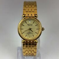 Oleg Cassini Womens SWS31855 Gold Tone Diamond Dial Quartz Analog Bracelet Watch