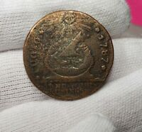 1787 Fugio Cent Colonial Copper Coin - Newman 20-R Rarity 6 - Scarce - VF Det.