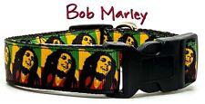 "Bob Marley dog collar Handmade adjustable buckle 1"" wide or leash Reggae music"