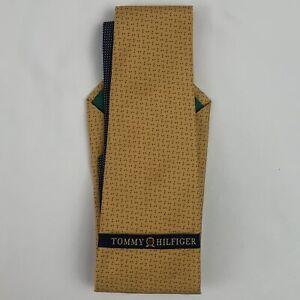 New Vtg 90's Tommy Hilfiger Gold Yellow Textured Navy Print Neck Tie 100% Silk