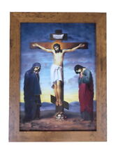 More details for beautiful framed christian icon print golgotha calvary wood effect frame a3