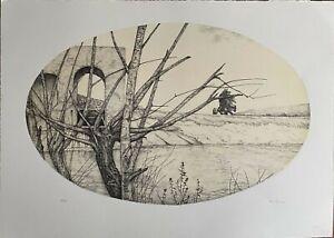 Alessandra Cancogni litografia ovale sul Fiume 70x50 firmata numerata 27/40