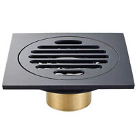 4 Inch Square Shower Drain with Removable Cover Grate, Brass Anti Clogging F5F4
