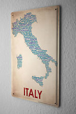 Tin Sign World Trip  Map of Italy Decorative Wall Plate