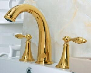Gold Brass Widespread Bathroom Sink Faucet 2 Handles 3 Hole Deck Mount Mixer Tap