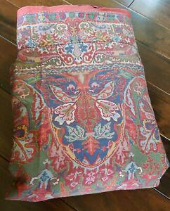 Vtg RALPH LAUREN Queen Flat Sheet GALAHAD Medieval Collect Red SATEEN