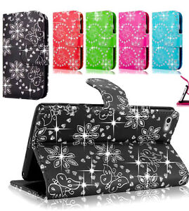 Shiny Bling Diamond Leather Wallet Flip Stand Case Card Cover for Mobile Phone