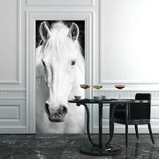 PT0190 Wall Stickers Adesivi Murali Porte decorate Porta cavallo bianco 100x210