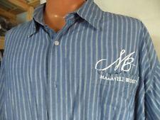 MAKAVELI BRANDED BUTTON FRONT SHORT SLEEVE, BLUE STRIPE, 4XL