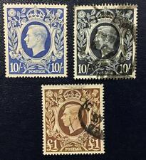 G.Britain. 1939. Edward Viii. 10+10Sh.+1 Pound Used. Sg# 478/78b.Cat.53 Pounds.