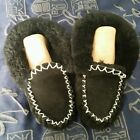 100% THICK SHEEPSKIN LAMBSWOOL MOCCASINS AU MADE WOMEN'S SIZE 5 slippers shoe bl