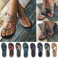 Womens Strappy Sandals Flats Crossover Summer Beach Peep Toe Shoes 2.5-8.5