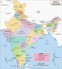 "Political Map of India (Wall Map) 36"" x 40.3"" Laminated"