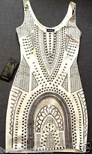 $200 NWT bebe ivory white studded floral embellished bodycon top dress XS 0 2