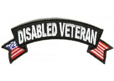"(A18) Disabled Veteran with U.S Flag 4"" x 1.5"" iron on patch (1555) Biker Vest"