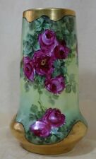 ANTIQUE MZ Austria HAND PAINTED  PORCELAIN VASE  with  ROSES SIGNED