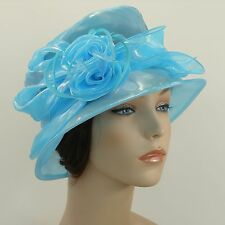 New Woman Church Hat Kentucky Derby Hat Organza Bucket Dress Hat 1415 Light Blue